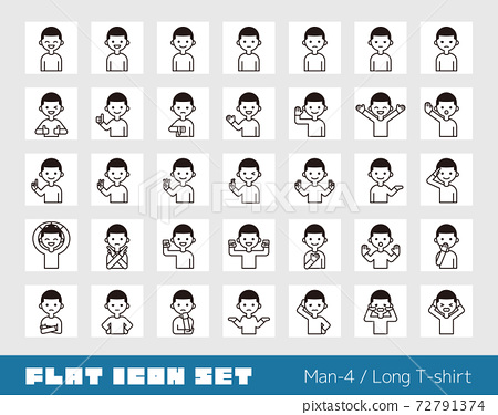 Person icon set (male 4) long sleeves 72791374