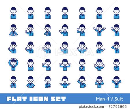 Person icon set (male 1) suit 72791666