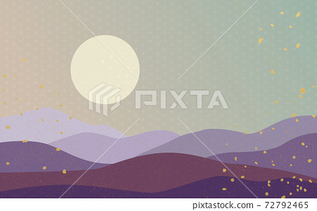 Illustration material: Japanese style Japanese pattern mountain Qinghai wave pattern hemp leaf pattern landscape sun moon sunrise mountain 72792465