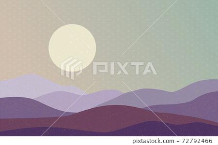 Illustration material: Japanese style Japanese pattern mountain Qinghai wave pattern hemp leaf pattern landscape sun moon sunrise mountain 72792466