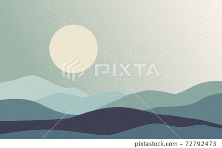 Illustration material: Japanese style Japanese pattern mountain Qinghai wave pattern hemp leaf pattern landscape sun moon sunrise mountain 72792473