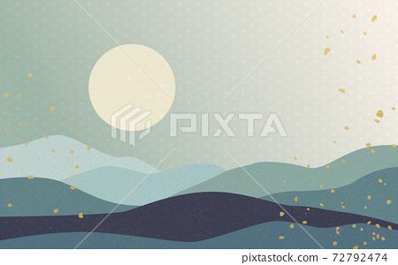 Illustration material: Japanese style Japanese pattern mountain Qinghai wave pattern hemp leaf pattern landscape sun moon sunrise mountain 72792474