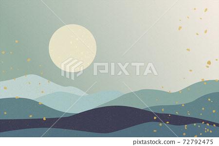 Illustration material: Japanese style Japanese pattern mountain Qinghai wave pattern landscape sun moon sunrise mountain 72792475
