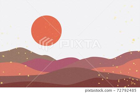 Illustration material: Japanese style Japanese pattern mountain Qinghai wave pattern landscape sun moon sunrise mountain 72792485