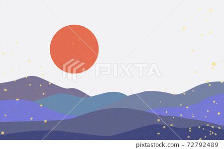Illustration material: Japanese style Japanese pattern mountain Qinghai wave pattern landscape sun moon sunrise mountain 72792489