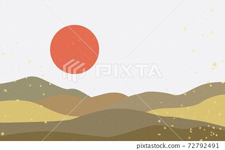 Illustration material: Japanese style Japanese pattern mountain Qinghai wave pattern landscape sun moon sunrise mountain 72792491