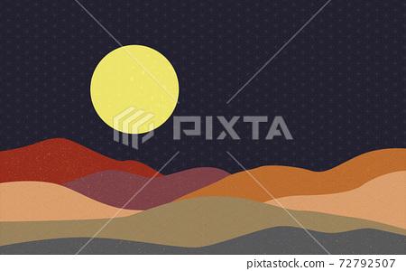 Illustration material: Japanese style Japanese pattern mountain Qinghai wave pattern hemp leaf pattern landscape moon night night view night sky hill mountain 72792507
