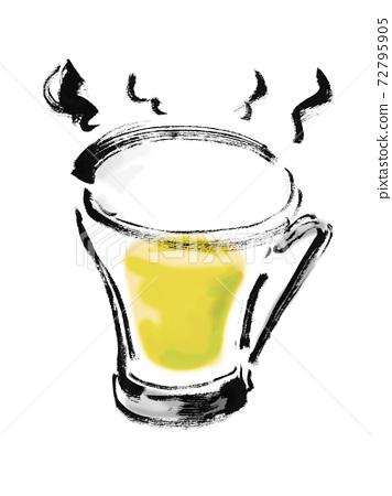 손으로 그린 컵에 뜨거운 화이트 와인의 일러스트 소재 72795905
