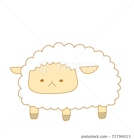 Illustration of a sheep with a retro atmosphere 72796013