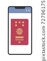 智能手機屏幕上顯示的護照插圖(電子護照/簡單) 72796175