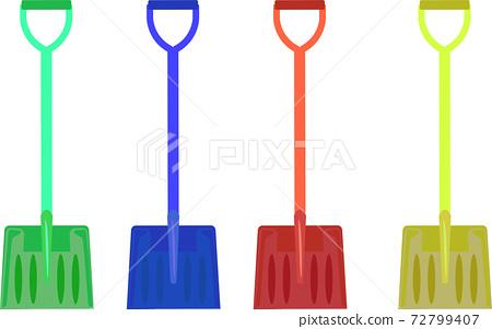 Illustration of a colorful snow shovel 72799407
