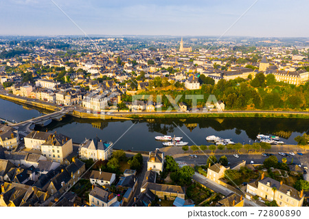 Aerial view of french commune Chateau-Gontier, Mayenne 72800890