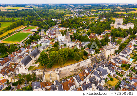 Aerial view of Loches overlooking fortified royal Chateau, France 72800983