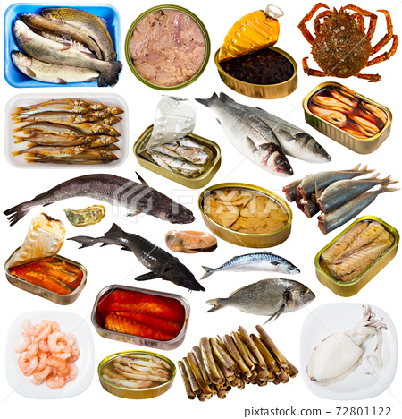 Collection of raw fish and semi-finished seafood 72801122