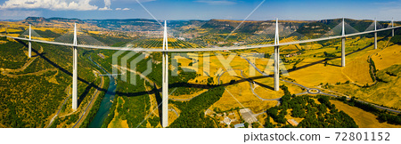 Panorama of multi-span cable stayed Millau Viaduct, France 72801152