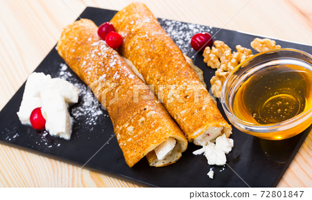 Bulgarian thin pancakes with brynza 72801847