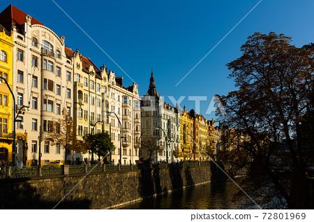 Prague embankment on Vltava river 72801969
