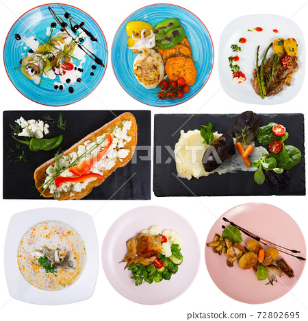 Set of dishes isolated on white 72802695