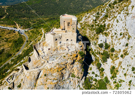 Drone view of ruins of Castle de Queribus on stone peak, France 72805062