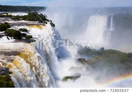 Waterfall Cataratas del Iguazu on Iguazu River, Brazil 72805637