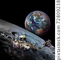 Moon rover on moon surface and planet Earth rising.  72809238
