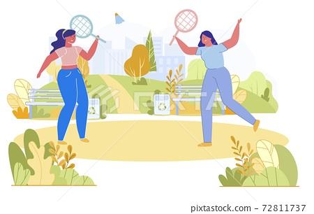Friends Play Badminton Outside Vector, Cartoon. 72811737