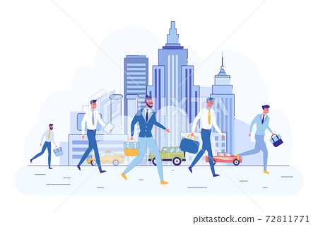 In City Center Men in Business Clothes Hurry Work. 72811771