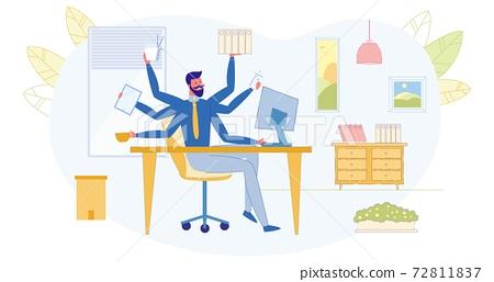 Multitasking Work in Office Flat Vector Concept 72811837