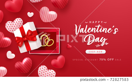Happy Valentine Day background or banner with lovely elements. 72827583