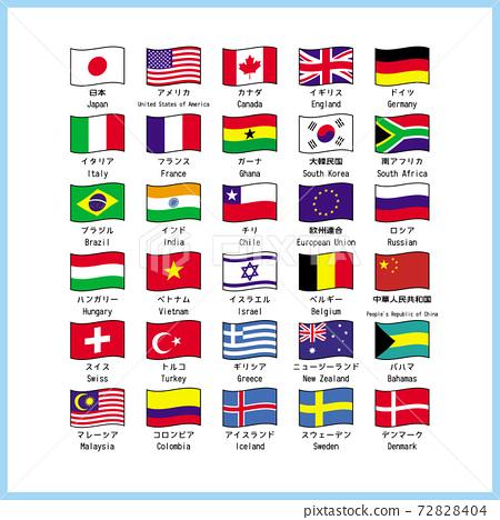 世界主要標誌清單清單插圖矢量 72828404
