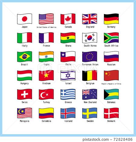 세계 주요 국기 세트 목록 일러스트 벡터 72828486