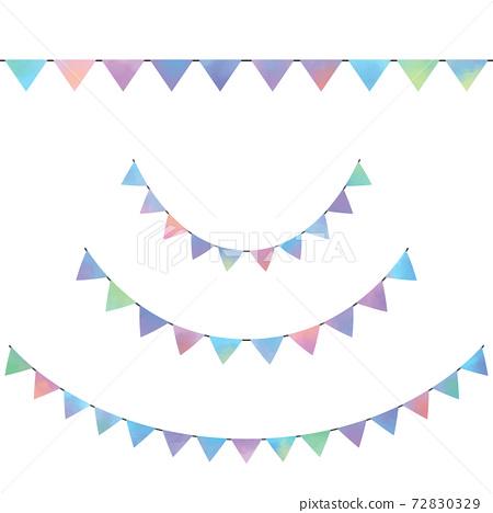 水彩風格多彩的彎曲和直的花環設置光柵材料 72830329