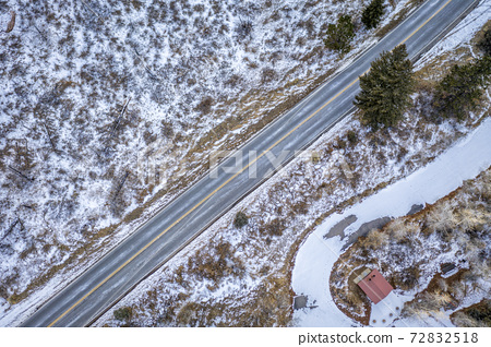 mountain highway aerial view 72832518