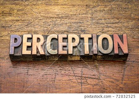 perception word in letterpress wood type 72832525