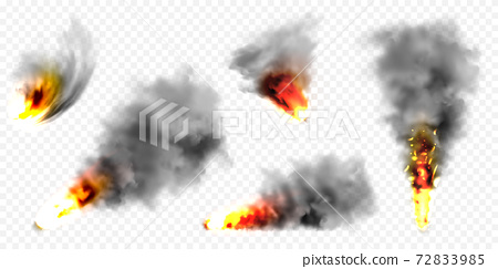 Realistic black smoke clouds and fire. Flame blast, explosion. Stream of smoke from burning objects 72833985