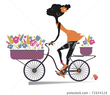 Pretty young African woman, a bike and bouquets of flowers illustration. Smiling young African woman rides a bike and carries a bouquets of flowers in the baskets isolated on white 72834128