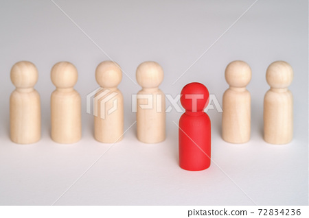 People standing out from the crowd. Human resource, Talent management, Recruitment employee, Successful business team leader. red figure, leadership. Leader standing out from the crown 72834236