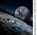 Moon landscape with earth rise on a starry sky 72835601