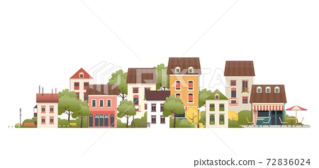 illustration of a small two-story house 72836024