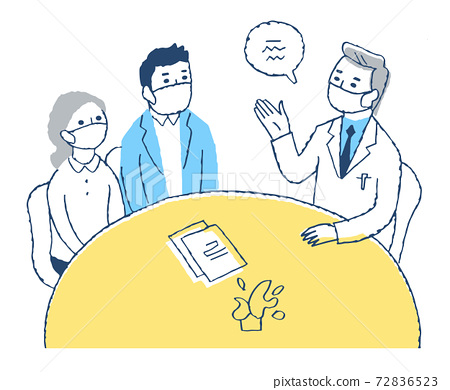 A couple receiving an explanation from a doctor 72836523