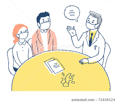 A couple receiving an explanation from a doctor 72836524