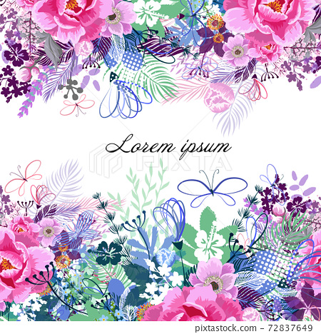 Beautiful floral frame with different flowers. Vector illustration 72837649