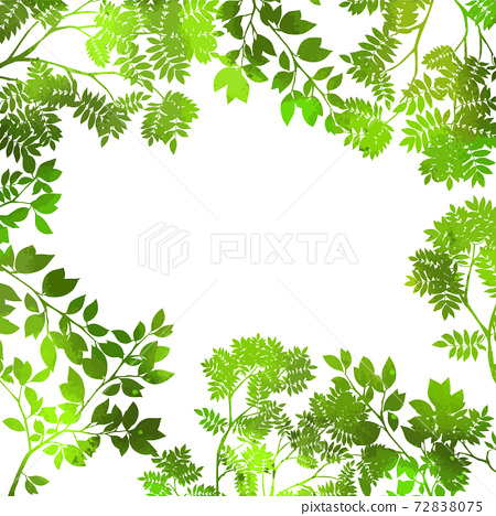 Background frame made of green leaves. Mixed media. Vector illustration 72838075