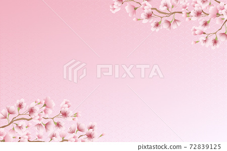 Cherry blossom petals in full bloom Qinghai wave pattern pink sky background material illustration 72839125