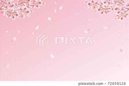 Cherry blossom petals in full bloom Qinghai wave pattern pink sky background material illustration 72839128