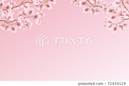 Cherry blossom petals in full bloom Qinghai wave pattern pink sky background material illustration 72839129