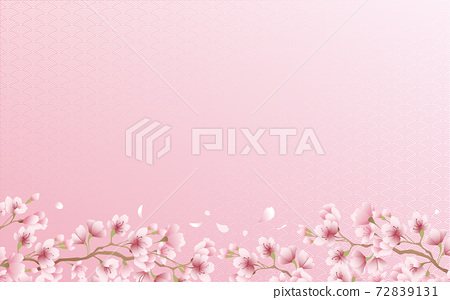 Cherry blossom petals in full bloom Qinghai wave pattern pink sky background material illustration 72839131
