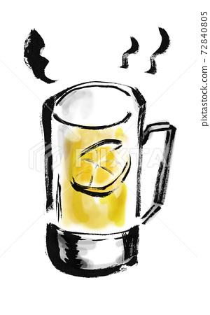手工繪製的透明玻璃杯中的熱檸檬的插圖 72840805