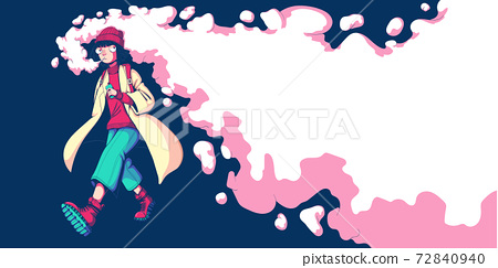 Teenager girl vaper walking and smoke vape. Vaping woman. Alternative to smoking. Quit smoking. Healthy lifestyle. Vector illustration in colorful cartoon style. Horizontal banner with place for text. 72840940