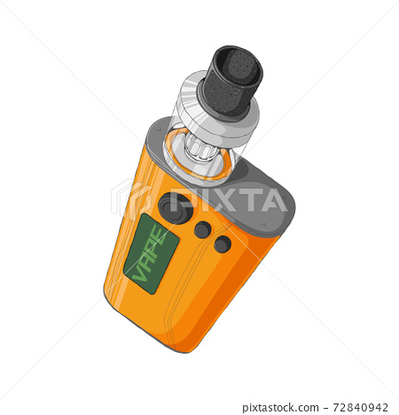 Vape mod kit with rebuildable dripping tank atomizer. E-cigarette concept. Colorful Vector illustration in cartoons style. Isolated on white background. 72840942